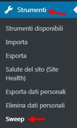 Wp-Sweep - menu